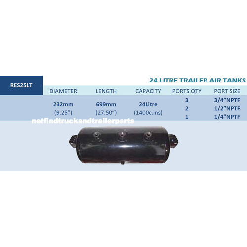 24 Litre Trailer Air Brake Tank - 1 Port