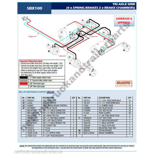 Retrofit Trailer Brake Kit Tri-Axle Axle Trailer Brake System ADR Compl 3 or 5T