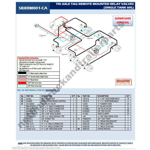 Retrofit Trailer Brake Kit 3 Axle Tag Remote Mount Trailer Brake System ADR App.